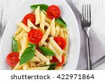 plate of pasta with cherry... | Shutterstock . vector #422971864