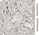 cartoon hand drawn doodles cafe ... | Shutterstock .eps vector #422976475