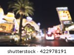 Stock photo scene on the road at night in las vegas nevada usa blurred 422978191