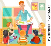 teacher reading for kids in the ... | Shutterstock .eps vector #422982259