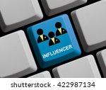 blue computer keyboard is... | Shutterstock . vector #422987134