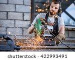 industrial worker cutting metal ... | Shutterstock . vector #422993491