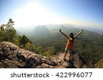 cheering woman hiker open arms...   Shutterstock . vector #422996077