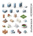 set of isometric high quality... | Shutterstock .eps vector #423000214