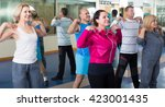 group of happy russian adults... | Shutterstock . vector #423001435