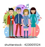 modern people listen to music... | Shutterstock .eps vector #423005524