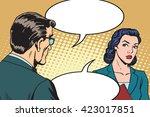 businessman and businesswoman... | Shutterstock .eps vector #423017851