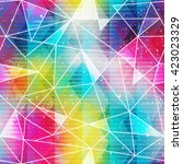 rainbow triangle seamless... | Shutterstock .eps vector #423023329