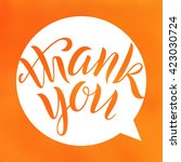 thank you. lettering on blurred ...   Shutterstock .eps vector #423030724