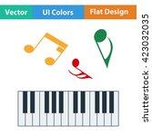 flat design icon of piano...