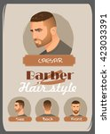 men's haircut and hairstyle.... | Shutterstock .eps vector #423033391