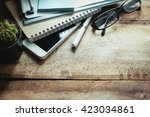 office workplace with digital... | Shutterstock . vector #423034861