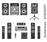 vector set of audio and music... | Shutterstock .eps vector #423036007