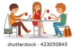 three students talking friendly ... | Shutterstock .eps vector #423050845