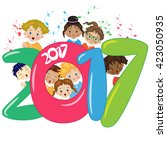 happy new year with children | Shutterstock .eps vector #423050935