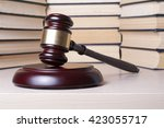 law concept   book with wooden... | Shutterstock . vector #423055717