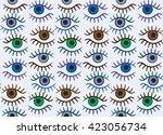 eye silhouette seamless pattern....   Shutterstock .eps vector #423056734