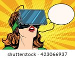 retro girl with glasses virtual ... | Shutterstock .eps vector #423066937