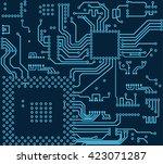 high tech circuit board vector...   Shutterstock .eps vector #423071287