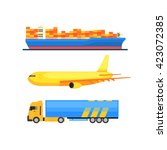 cargo transportation set vector ... | Shutterstock .eps vector #423072385