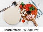 italian pizza cooking process... | Shutterstock . vector #423081499