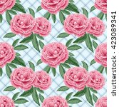 seamless pattern with peonies... | Shutterstock .eps vector #423089341