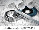 roller bearings  gauge ... | Shutterstock . vector #423091315
