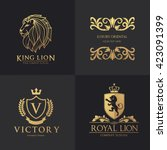 luxury logo set. hotel logo.... | Shutterstock .eps vector #423091399