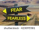 fear   fearless crossroad in a... | Shutterstock . vector #423095581