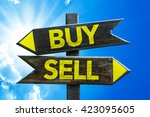 buy   sell crossroad with sky... | Shutterstock . vector #423095605