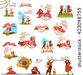 banner set with ribbons for... | Shutterstock .eps vector #423098755