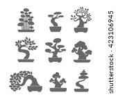 black tree logo illustration... | Shutterstock .eps vector #423106945