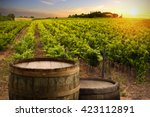 red wine with barrel on... | Shutterstock . vector #423112891