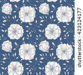 seamless vintage flower vector...   Shutterstock .eps vector #423124177