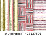 set of 3 abstract patterns.... | Shutterstock .eps vector #423127501