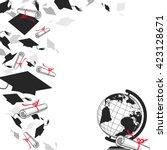 graduate  caps with diplomas... | Shutterstock .eps vector #423128671