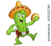 sympathetic cactus with a... | Shutterstock .eps vector #423132769