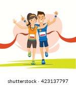 male and female runner cross... | Shutterstock .eps vector #423137797