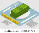 business lunch infographics on... | Shutterstock .eps vector #423143779