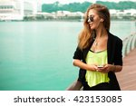 summer sunny lifestyle fashion... | Shutterstock . vector #423153085