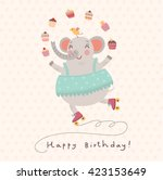 cute elephant. vector card | Shutterstock .eps vector #423153649