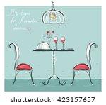 romantic dinner for two lovers... | Shutterstock .eps vector #423157657