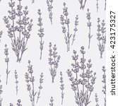 seamless with lavender. hand... | Shutterstock .eps vector #423175327