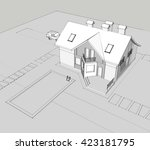 house building sketch  3d... | Shutterstock . vector #423181795