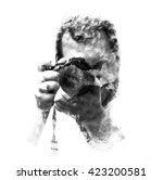 double exposure male... | Shutterstock . vector #423200581