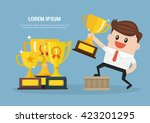 businessman holding winning... | Shutterstock .eps vector #423201295