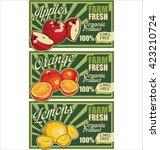 organic fruits concept vector... | Shutterstock .eps vector #423210724