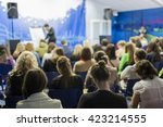 female lecturer speaking in... | Shutterstock . vector #423214555