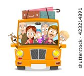 big happy family traveling by... | Shutterstock .eps vector #423214891