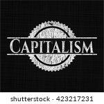 capitalism chalkboard emblem... | Shutterstock .eps vector #423217231